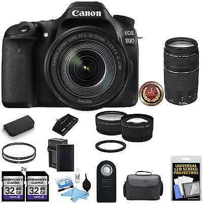Canon EOS 80D Wi-Fi DSLR Camera & EF-S 18-135mm IS USM + 75-300mm III Lens Kit