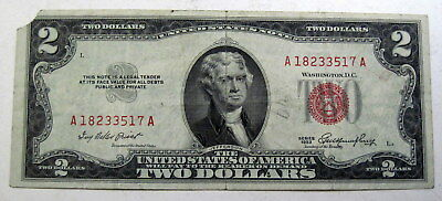 1953 A red seal Two Dollar Thomas Jefferson United States Note (#710L)