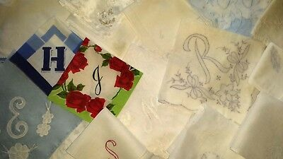 19 Vintage Embroidered Various Letter Monogram Ladies Hankies    (64)