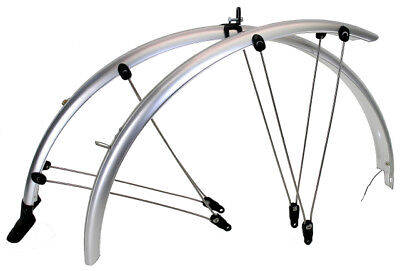 Silver full length cycle mountain bike mud guards mudguards 26 wheels 60mm wide