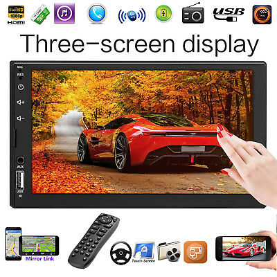 "7"" Double 2Din Car Stereo Radio TF/FM MP5 Player Bluetooth HD 1080P Touch Screen"