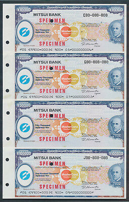 "Japan: 1984 Thos Cook & Mitsui Bank RARE SET OF 4 ""SPECIMEN"" TRAVELLERS CHEQUES"