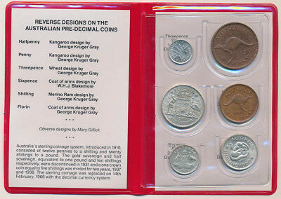 Australia: QEII Coin Set of 6, 2/- to 1d, 4 Silvers, Some High Grades