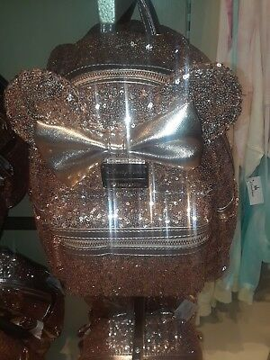 NEW Disney Parks Disneyland Loungefly Rose Gold Ears Sequin Minnie Mini Backpack