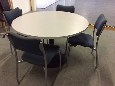 Grey Round Meeting Table & Four Chairs