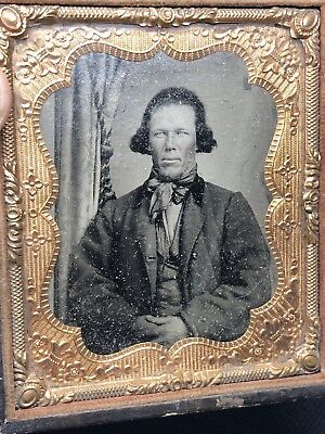 Antique Ambrotype Photograph of Man With Crystal Clear