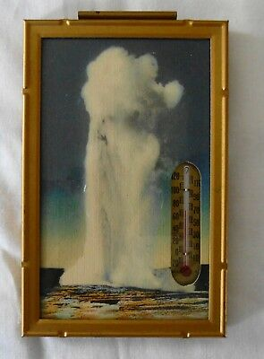 Vintage Haynes Yellowstone Thermometer with Geyser for wall or desk