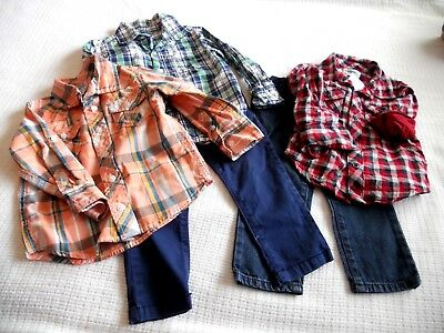 TODDLER BOYS ASSORTED FALL WINTER SHIRT PANTS~LOT of 5~SIZE 2T~OLD NAVY,CARTERS+