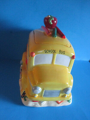 """School Bus Cookie Jar Yellow Abc Books Apple Knob Crayons 12"""" X 13"""" Pre-Owned"""