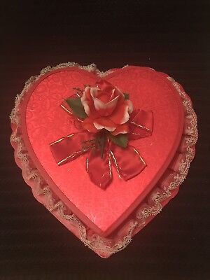 "12"" Vintage Heart Candy Box Red w/ Red Rose Valentine's Day"