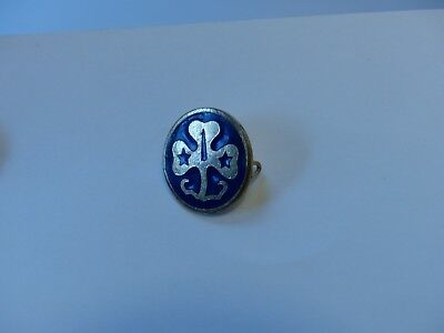 """Vintage Girl Guides Girl Scouts Blue & Gold 3/4"""" Diameter Pin   New Zealand (?)"""
