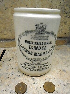 Vintage James Keiller & Son Dundee Orange Marmalade Ceramic Crock Jar 1lb 4.75""