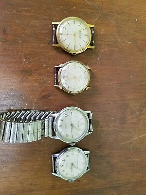 Lot of 4 Vintage Mens Manual Wind  Watches All Running