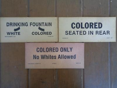 3 Segregation Sign Drinking Fountain Colored Only Black Americana Bar Sign Decor