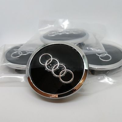 4 x 69mm Audi Schwarz Nabenkappen Nabendeckel Black Alloy Wheel Cap Hub