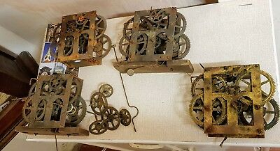4 X Ansonia Style Antique American Clock Movements