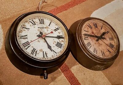 Pair Of Electric Magneta Clocks For Spares Or Restoraton Mains Not Slave