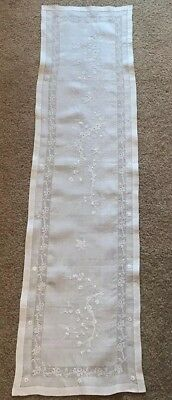 Antique White Fine Lace Embroidered Branches And Blossoms Floral Table Runner