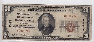 1929 Peoples-First National Bank of Hoosick Falls, NY $20 Note CH 2471 A000070A