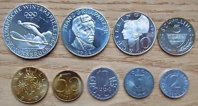 AUSTRIA KM# PS2, 1964 PROOF SET 9 COINS/4 SILVER No Packaging (12 Photos)