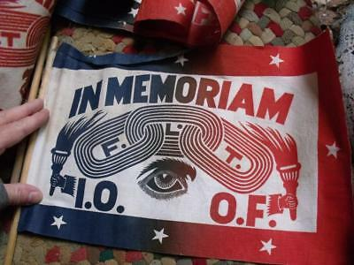 Lot of 16 Old Vintage Odd Fellows In Memoriam Flags FLT IOOF Rural Auction Find