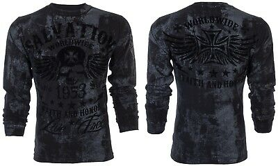 ARCHAIC by AFFLICTION Mens LONG SLEEVE T-Shirt BLACK TIDE Skull Biker $58 NWT