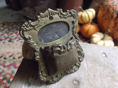 Beautiful Antique Solid Brass Wall Mount Match Holder 1/2 lb HEAVY Patina !