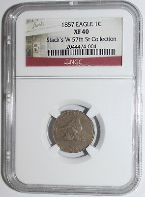 1857 Flying Eagle Cent  (Ngc Xf-40) Stack's W 57Th St Collection Label