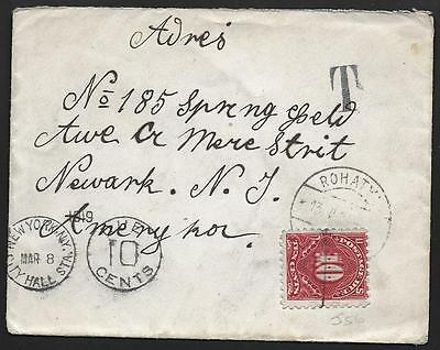 UKRAINE US 1919 ROMANIA COVER ARRIVED STAMPLESS AND 10c N.Y. POSTAGE DUE ADDED