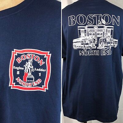 Boston Fire Department North End BFD Crew T-Shirt XL Mens Engine 8 Ladder 1