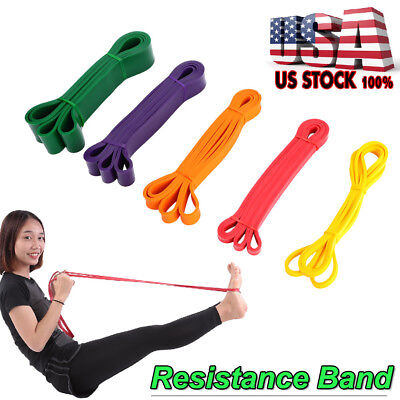 Yoga Resistance Band Loop Power Gym Fitness Exercise Workout Pilates Heavy Duty