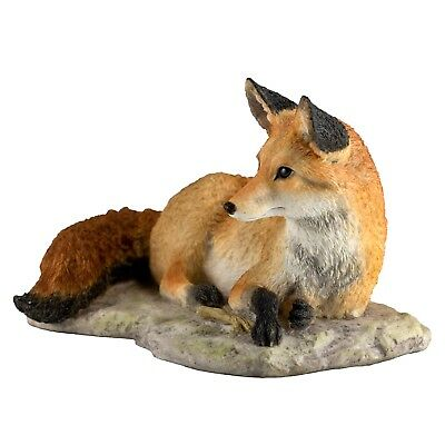 "Red Fox Resting Laying Figurine 8""L Highly Detailed Polystone New In Box!"