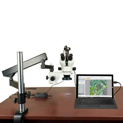 Stereo Zoom 7X-45X Articulated Arm Microscope+144 LED Ring Light+2MP USB Camera