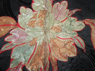 2 Vintage Chinese Embroidered Fragments Couched Gold Silver Thread Silk