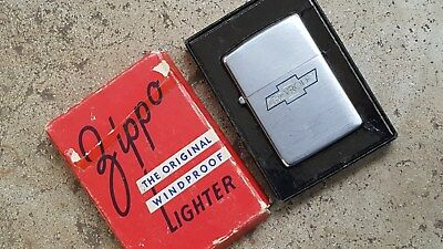 1946 or 1947 3 Barrel Hinge ZIppo,Advertises Chevrolet Auto,Used but Has Box