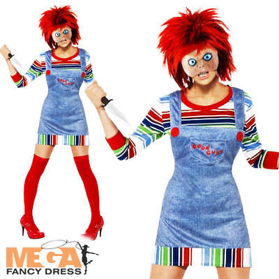 Chucky Ladies Halloween Fancy Dress Horror Film Adults Womens Costume Outfit New
