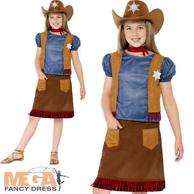Cowgirl Girls Fancy Dress World Book Day Western Kids Childrens Cowboy Costume