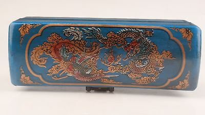 Chinese Antique Blue Leather Wood Bird Ornament Jewelry Box Gift Collection