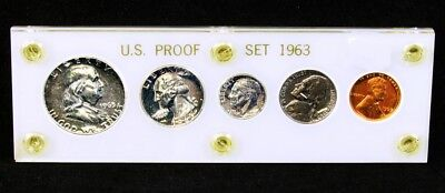 1963 US Mint Silver Proof Set in Holder - Complete Year 5 Coins