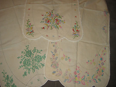 "3 Vintage Hand Made 1940s Embroidered Dresser Cover 41 "" X 14 """
