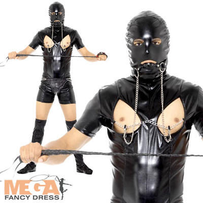 Bondage Gimp Mens Novelty Fancy Dress Funny Stag Do Black Leather Adults Costume