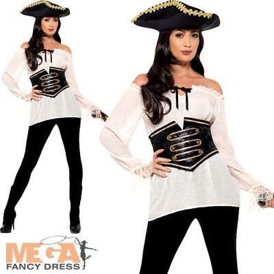 Deluxe White Pirate Shirt Ladies Fancy Dress Caribbean Adults Costume Accessory