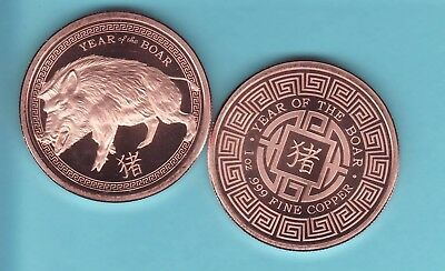 """/""""2019 Year of the Boar/"""" 1 oz .999 Copper Round"""