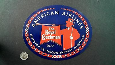 American Airlines The Royal Coachman DC-7 ~ vintage Airline Luggage Label