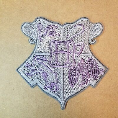 Harry Potter Hogwarts School Crest  Gray Patch 4  inches tall
