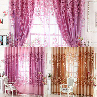 Floral Half Shading Curtain Window Treatment for Living Room Bedroom Decor Lot