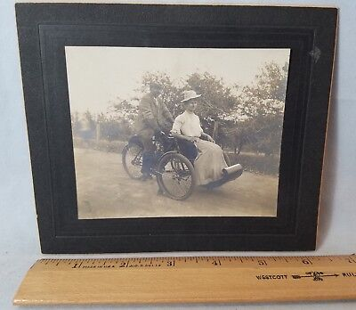 Orig Circa 1907 Photograph George Hendee On Indian Camel Tank TriCar Motorcycle