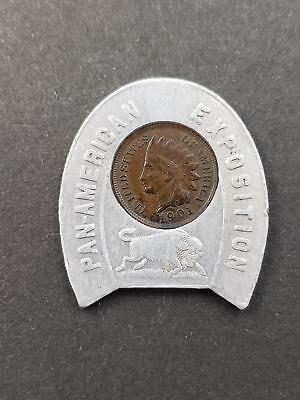 1901 Pan American Exposition Encased Cent 1901 Indian Head penny Good Luck token