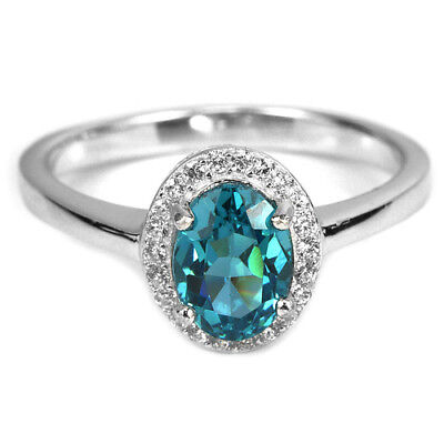 Genuine Aaa London Blue Topaz Oval & White Cz Sterling 925 Silver Ring Size 8
