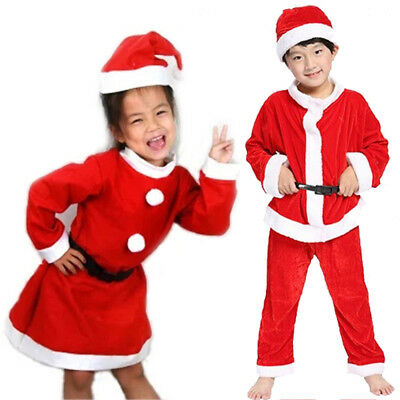 Kids Boys Girls Santa Claus Christmas Suit Fancy Dress Cosplay Costume Outfits
